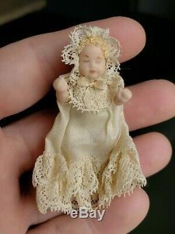 Dollhouse Miniature Artisan Colin Ynonne Roberson Pram & Baby Doll Signed 112