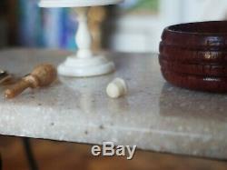 Dollhouse Miniature Artisan David Edwards Bone Spools Stand Box Lot 112