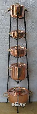 Dollhouse Miniature Copper POTS WithBLACK STAND Artist Handcrafted 112 Scale