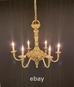 Dollhouse Miniature Handcrafted 6 Light Colonial Style Brass Chandelier 112 12V