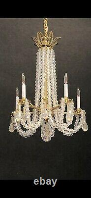 Dollhouse Miniature Handcrafted Crystal Chandelier 5 Candle Lights 112 12V