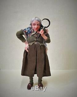 Dollhouse Miniature Irina Martin Witch Hag Doll 1/12th OOAK