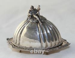 Dollhouse Miniature Pete Acquisto Sterling Silver Dome Cover Tray 18th C Figure