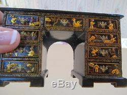 Dollhouse Miniatures Artisan Judith Dunger Hand Painted Chinoiserie Desk