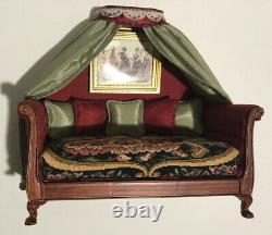 Dollhouse Miniatures Artisan OOAK Silk Draped Petit Point Sleigh Bed