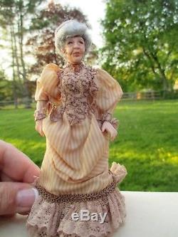 Dollhouse Miniatures Loretta Kasza Victorian Lady Doll withDress & Gray Hair