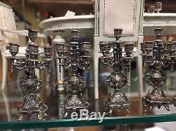 Dollhouse Miniatures Ornate Pair of 5 Arm Candelabras Sterling Silver