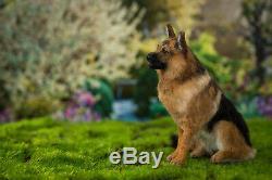 Dollhouse Sitting German Shepherd Pup Artist Furred OOAK Dog