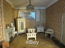 Dolls' House Antique Vintage Lines Triang with antique furniture, c1920s
