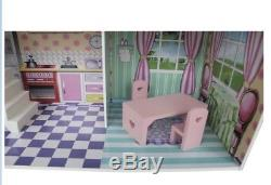 Dolls House Dollhouse Townhouse Furniture Miniature Wooden Room Vintage Gift Toy