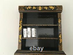 Dolls House Miniatures 12th Black Chinoiserie Bookcase by Artisan Judith Dunger