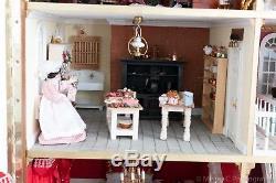 Dolls House / Palace Lovingly Created With Custom Built Cabinet