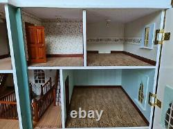 Dolls house blue/white mansion 13 rooms with centre stairs/lights 1.12th