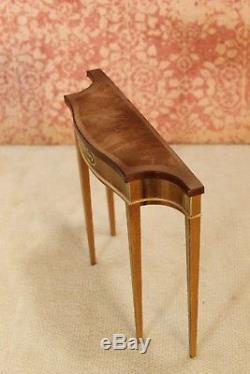 Ferd Sobol Demi-Lune Console Table with Inlay Artisan Dollhouse Miniature (FS-831)