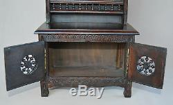 French Breton Antique Handmade Wood Doll Furniture Cabinet Dresser Crockery