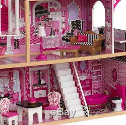 Girls Dolls House Tall Barbie Castle Pink Furniture Dollhouse Large Toddler Toys