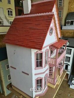 Greenleaf vintage dolls house 2 up and 2 down with attic/balcony's 1.12th S