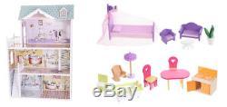 Großes Holz Puppenhaus Barbiehaus Traumhaus Puppenstube Möbeln +Garage