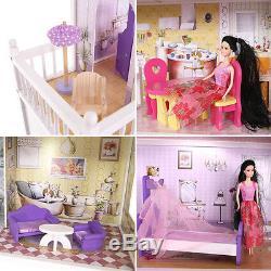Großes Holz Puppenhaus Barbiehaus Traumhaus Puppenstube Set Möbeln +Garage
