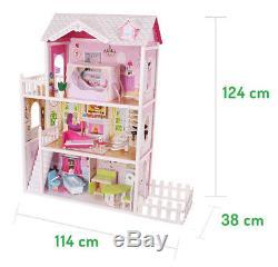 Großes Holz Puppenhaus Barbiehaus Traumhaus Puppenstube Set mit Möbeln Garten