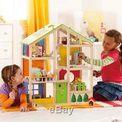 Hape All Season House Furnished Kids Toddler Toy Wooden Dollhouse with Furniture
