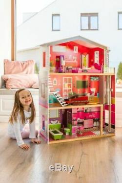 Holz Puppenhaus Barbiehaus Traumhaus Puppenstube Set Möbeln Aufzug 3 Etagen