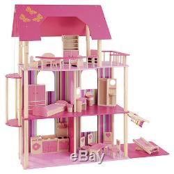 Howa Puppenhaus für Ankleidepuppen z. B. Barbie incl. 22 tlg. Möbelset aus Holz