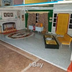 Huge 33 Marx Tin Litho Mansion Dollhouse Marxie Mansion VHTF with Furniture lot