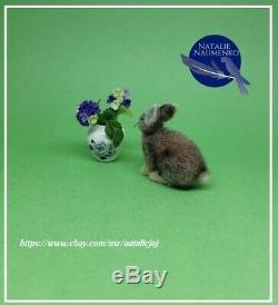 IGMA ARTISAN OOAK Bunny Handmade Realistic Handsculpted Dollhouse Miniature cat