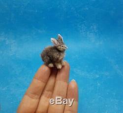 IGMA ARTISAN OOAK Christmas Bunny Handmade Realistic Dollhouse Miniature cat dog