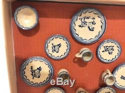 JANE GRABER 2018 16 DISH Set Miniature IGMA Artisan Signed Pottery Dollhouse