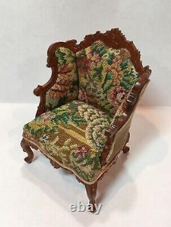 JBM Miniature Dollhouse Arm Chair and ottoman with petit point needlepoint