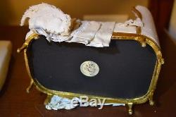JUNE CLINKSCALES Hand Painted Mademoiselle bed in blue toile Dollhouse