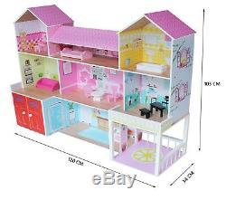 Kiddi Style Huge Wooden Mansion Manor Dolls House & Furniture Fits Barbie