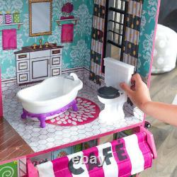 Kidkraft Brooklyn's Loft Dollhouse Wooden Dollhouse with Cafe fits Barbie