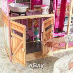 Kidkraft Shimmer Mansion Dollhouse Wooden Dollhouse Fits Barbie Sized Dolls