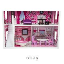 Kids Girls Large Doll Mansion 3 Storey Wooden Pink House With Dolls Furniture New