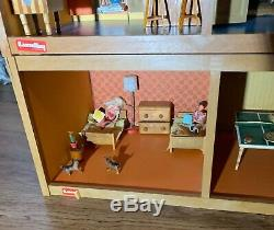 LUNDBY VINTAGE 3 STORY DOLL HOUSE WITH Handmade Furniture + Curtains