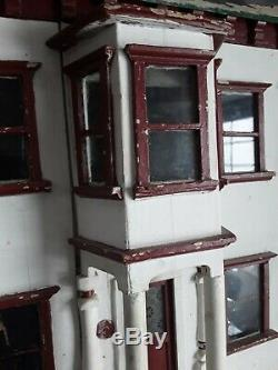 Large Antique Dolls House for Restoration circa 1900 1920 Stained Glass Door