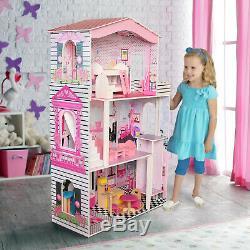 Large Barbie Wooden Dolls House Kids Doll House 17PCS Furniture & Lift Cottage