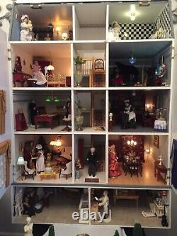Large Dolls House And Basement Fully Furnished, With Garden And Garden Furniture