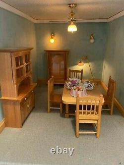 Large Georgian Style Wooden Dolls House With Furniture