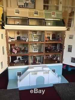 Large Georgian Style Dolls House Eggshell Blue Including Furniture And Dolls