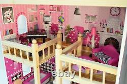 Large Wooden Doll House Basia + 17 pieces of furniture, premium quality