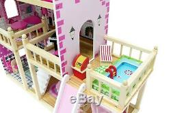 Large Wooden Doll House INGA + 23 pieces, terrace with a SWIMMING POOL