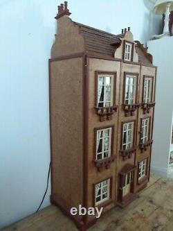 Large antique Victorian style dolls house with authentic detailed interior OOAK