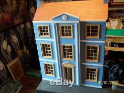 Large wooden dolls house hand made fully furnished