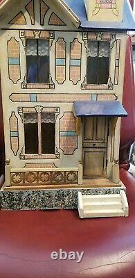 Lg Antique Gottschalk Blue Roof French Market 28 Tall Wood Litho Dollhouse