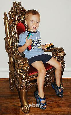 MINI Lion Throne Chair 3 Feet Tall Child or Doll Size Gold finish / White