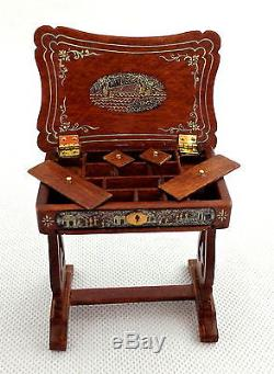 Melody Jane Dolls House Chinese Hand Painted Needlework Sewing Box Walnut JBM